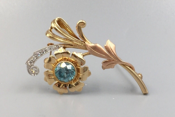Retro 14K Natural Blue Zircon Flower Spray Brooch - Vintage 1940s