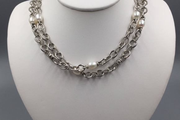 Judith Ripka Sterling Silver Pearl Long Necklace