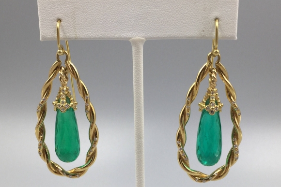 18K Gold Synthetic Emerald Briolette Pierced Earrings with Diamonds