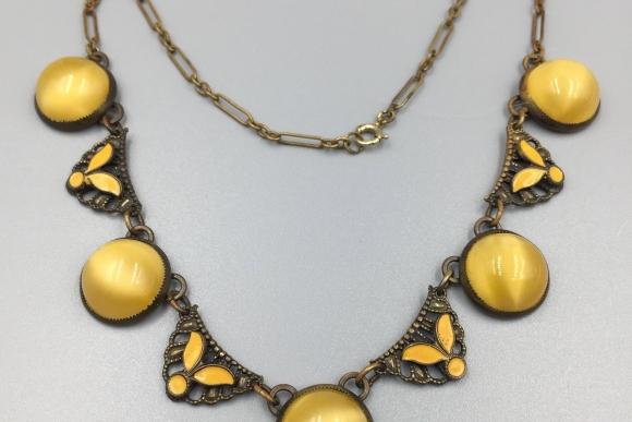 Art Deco Yellow Enamel Cats Eye Glass Cab Choker Necklace - Vintage 1920s