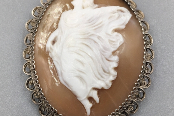 Antique Silver Filigree Shell Cameo Brooch - Vintage 1910s Terpsichore