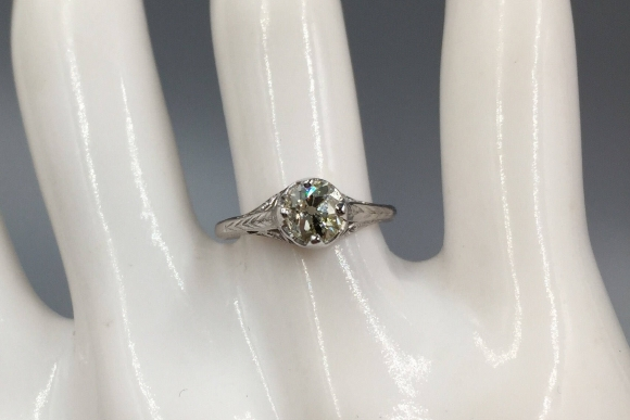 Edwardian 14K White Gold Filigree Basket Old Mine Diamond Engagement Ring - Vintage 1910s Antique Solitaire Ring