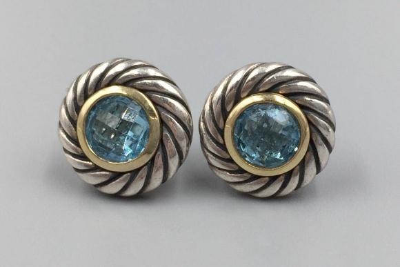 David Yurman 18K Sterling Silver Cable Blue Topaz Pierced Earrings