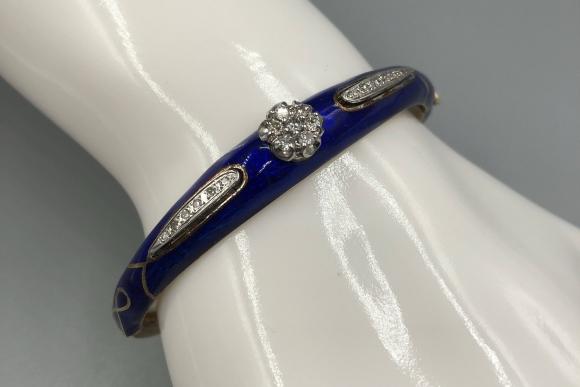 14K Gold Cobalt Blue Enamel Diamond Bangle Bracelet