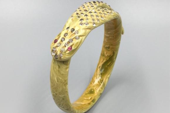 Art Deco Snake Celluloid Rhinestone Bangle Bracelet