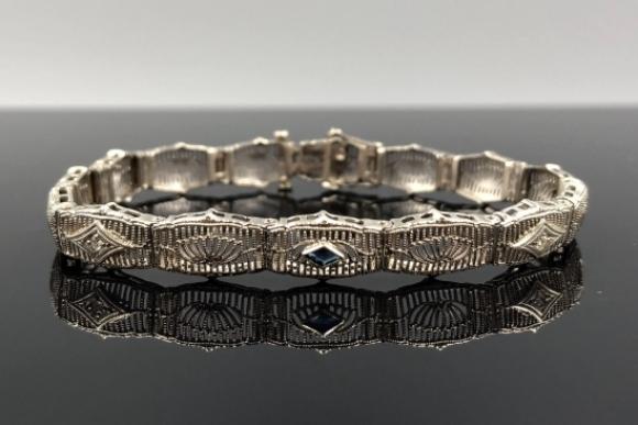Art Deco 14K Filigree Bracelet, Diamond & Sapphire Bracelet - Vintage 1920s