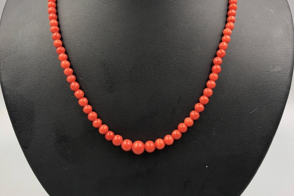 Coral Bead Necklace - 1940s  835 Silver Clasp