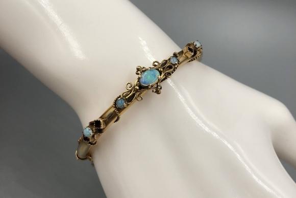 Victorian 14K Opal Bangle Bracelet - Vintage 1800s