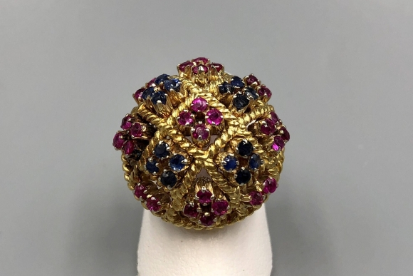 18K Ruby Sapphire Cluster Dome Ring - Vintage 1950s 18K Bombe Ring