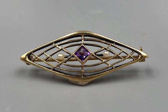 Antique Gold Brooch, Amethyst Seed Pearl, 14K Victorian Bar Pin - Vintage 1890s
