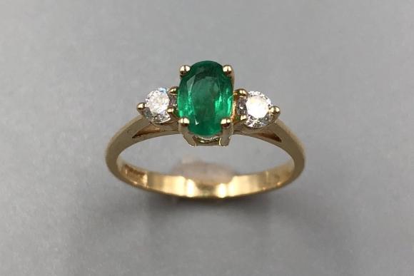 14K Emerald Diamond Three Stone Ring