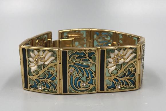 Joan Rivers Water Lily Plique a Jour Panel Bracelet