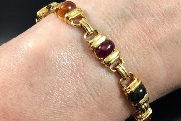 18K Gold Multi Gem Cabochon Link Bracelet