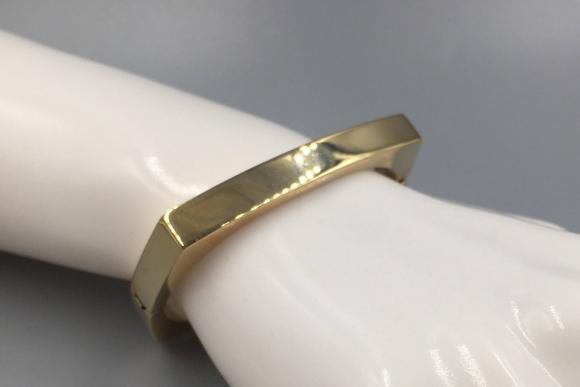 18K Gold Square Bangle Bracelet