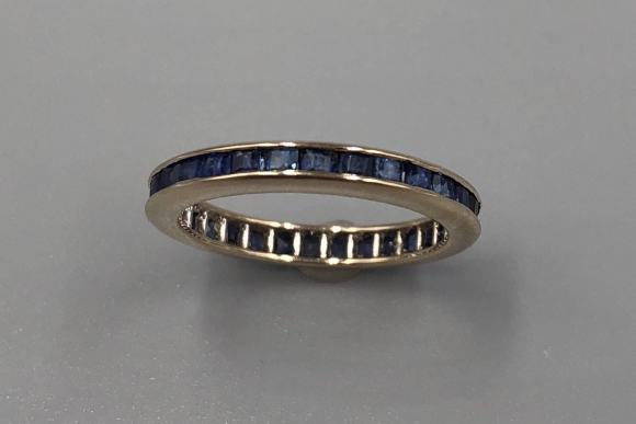 14K White Gold Natural Sapphire Eternity Ring