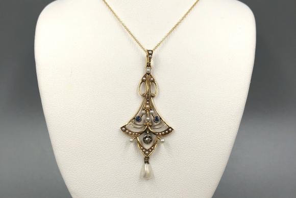 Victorian 14K Sapphire Diamond Natural Seed Pearl Lavaliere Pendant