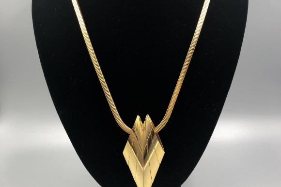 Ingrid Cusson Long Gold Brooch Necklace