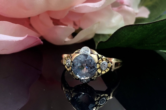 Old European Cut Montana Sapphire 14K 18K Floral Ring, California Gold Rush Jewelry
