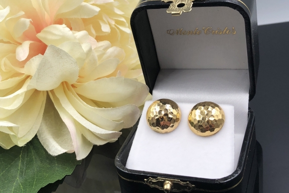 14K Gold Hammered Dome Earrings