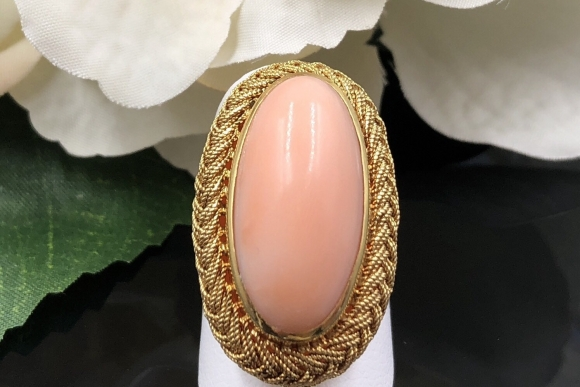 18K Angel Skin Coral Statement Ring