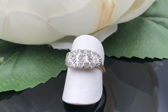 Platinum Topped 14K Gold Old Mine Diamond East West Ring