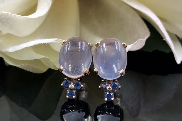 14K Blue Moonstone Sapphire Earrings