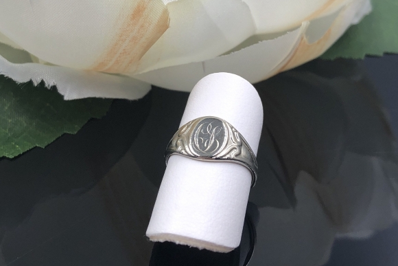 Art Nouveau 14K White Gold Signet Ring