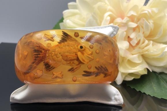 RARE Wide Reverse Carved Apple Juice Bakelite Fishbowl Slip On Bangle