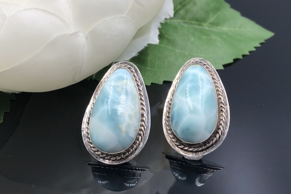 Vintage Sterling Silver Larimar Earrings