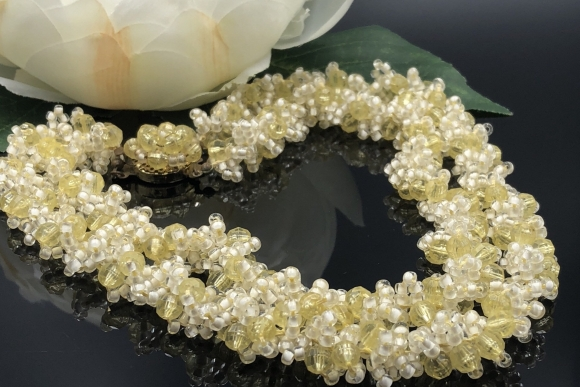 Yellow White Seed Bead Double Strand Bead Necklace
