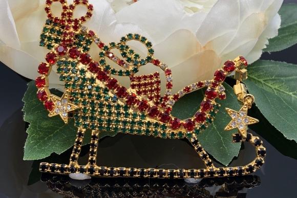 Large Rhinestone Santa Sleigh Christmas Brooch