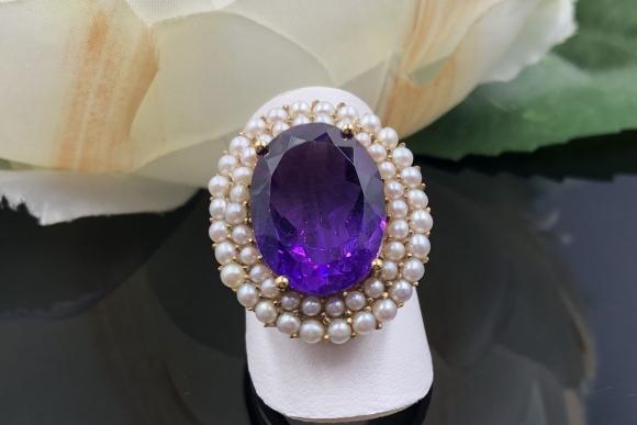 14K Amethyst Seed Pearl Ring