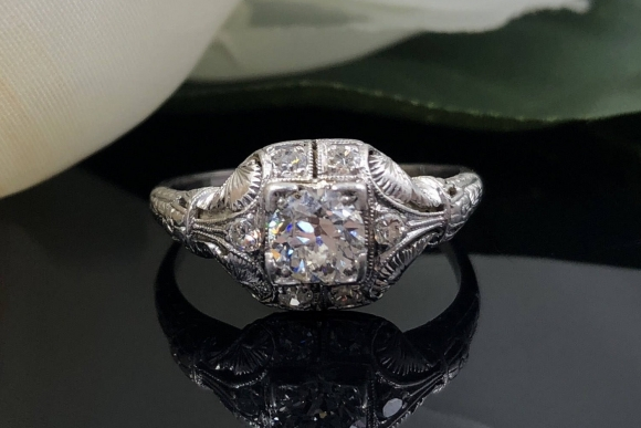 Art Deco Edwardian Platinum Old European Diamond Engagement Ring