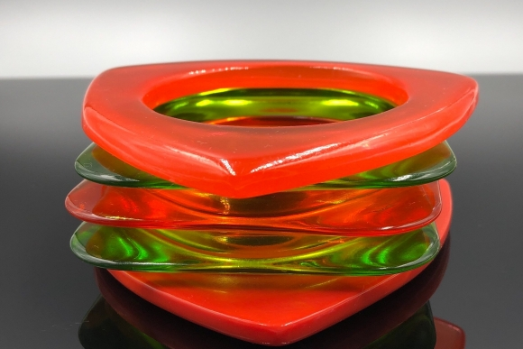 Set of Five Orange Green Lucite Stacking Bangles