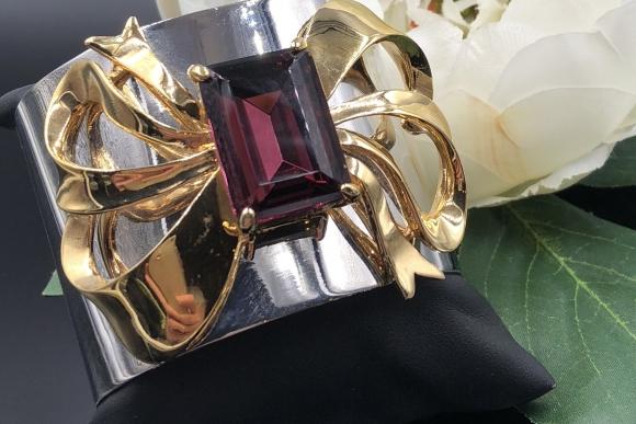 Retro Moderne Wide Silver Gold Bow Statement Cuff Bracelet