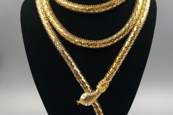 Gold Snake Lariat Necklace Unsigned Whiting Davis