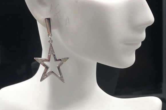 Givenchy Silver Star Dangle Earrings