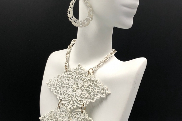 Vintage White Enamel Statement Necklace with Matching Earrings