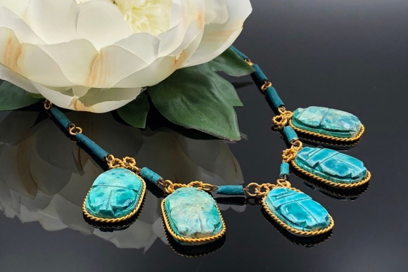 Egyptian Revival Turquoise Faïence Scarab Necklace