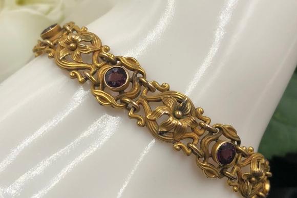Art Nouveau 14K Amethyst Bracelet