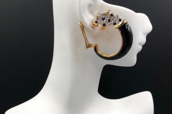 KJL Leopard Hoop Earrings, Black Enamel Crystal Leopard Head Clip On Hoops, Kenneth Jay Lane Statement Earrings