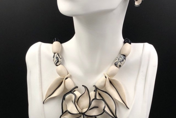 White Black Orchid Necklace Earrings Jewelry Set