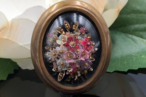 French Convex Bubble Glass Floral Bouquet Brass Brooch