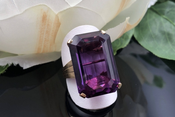14K Alexandrite Ring, Color Change Synthetic Sapphire Rectangular Step Cut Statement Ring