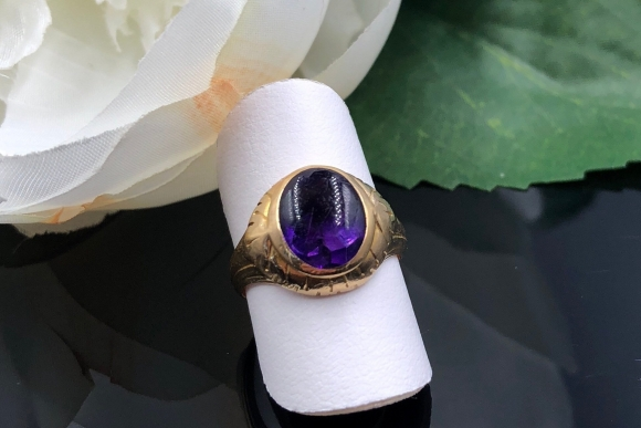 Antique Victorian Larter and Sons 14K Amethyst Ring