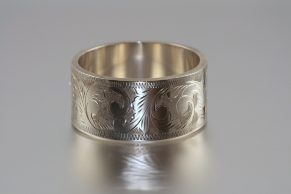 Wide Engraved Sterling Bangle