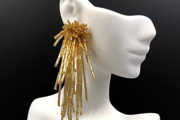 Gold Bugle Bead Dangle Earrings, Statement Earrings, Gold Beaded Earrings
