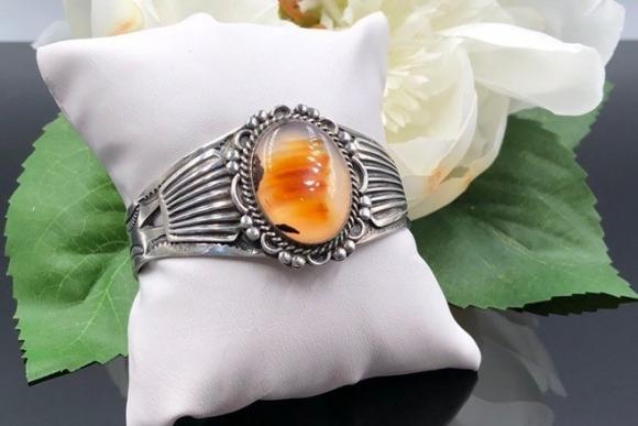 Navajo Sterling Silver Sunrise Agate Cuff Bracelet, Native American Picture Agate Cuff