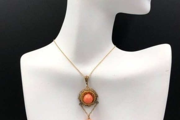 Victorian Coral Lavaliere, Etruscan Revival Natural Coral 12K Solid Gold Antique Necklace