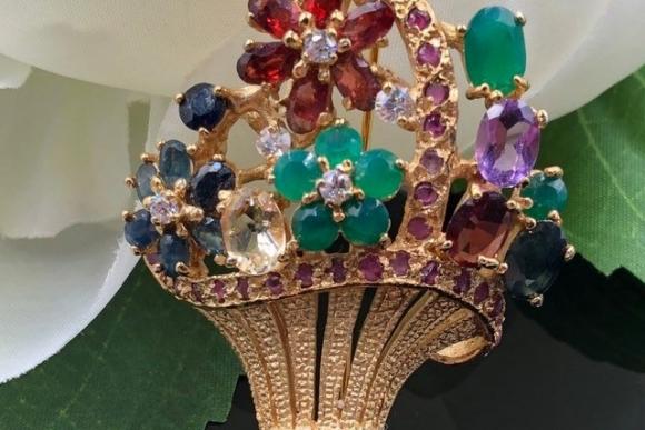 Sterling Vermeil Gemstone Flower Basket Pin